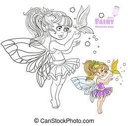 dolce, fata, in, tutu, presa a terra, uno, grande, farfalla, su, il, dito, colorare, e, delineato, immagine, per, libro colorante, bianco, fondo
