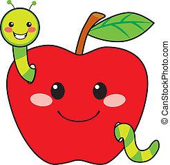 dolce, mela, verme