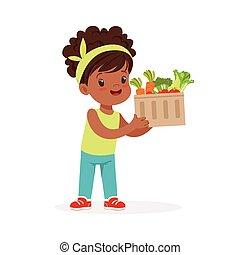 dolce, nero, piccola ragazza, presa a terra, cesto, pieno, di, verdura, bambini, cibo sano, concetto, colorito, vettore, illustrazione