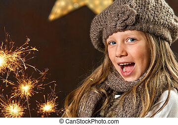 dolce, ragazza, divertimento, con, fireworks.