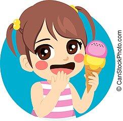 dolce, ragazza, gelato