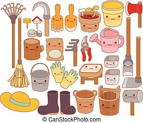 dolce, scarabocchiare, paglia, attrezzi, giardino, stile, carino, isolato, set, stivali, cartone animato, lattina, adorabile, irrigazione, kawaii, cappello, bello, gomma, bianco