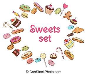 dolce, set, prodotti, colorito