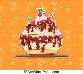 dolce, smalto, cioccolato, spugna, dessert, torta