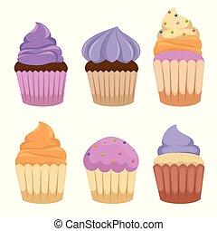 dolce, torte, set, icone