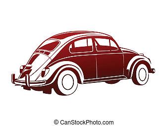 dolce, vecchio, rosso, auto