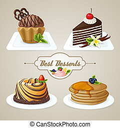 dolci, set, dessert