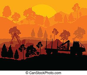 dole, dřevo, řezat, les, krajina