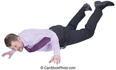 dole, obchodník, padající, běloba grafické pozadí