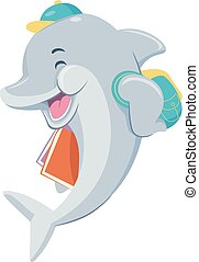 dolfijn, boekjes , student, illustratie, vrolijke