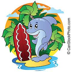 dolfijn, met, surfing bord