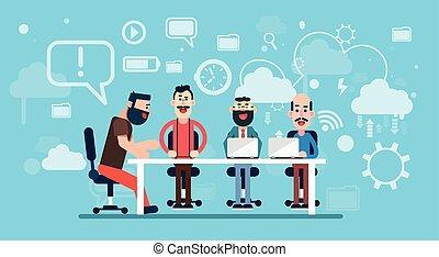 dolgozó, ügy, elvont, businesspeople, workplace, háttér, befog, technológia