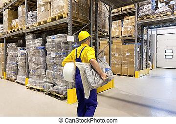 dolgozó, alatt, raktárépület
