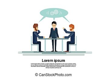 dolgozó, csoport, kereskedelmi ügynökség, ülés, íróasztal, emberek, businesspeople, kreatív, befog