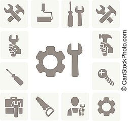 dolgozó, eszközök, elszigetelt, ikonok, állhatatos, közül, kalapács, ficam, csavarhúzó, és, mérőszalag, vektor