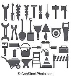 dolgozó, eszközök, ikon