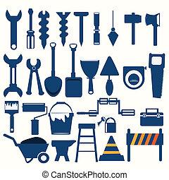 dolgozó, eszközök, kék, ikon