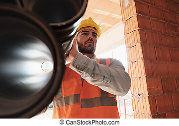 dolgozó, fiatal, házhely, szerkesztés, portré, ember