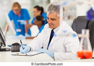 dolgozó, kutató, orvosi, labor, középső érlel