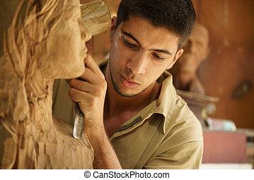 dolgozó, művész, fiatal, kézműves, farag, szobrász, kifarag