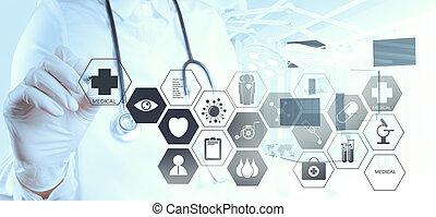 dolgozó, orvos, modern, kéz, orvosság, számítógép,...