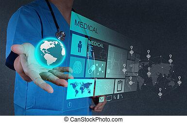dolgozó, orvos, modern, orvosság, számítógép, határfelület