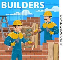 dolgozó, szerkesztés, vektor, épület, építők