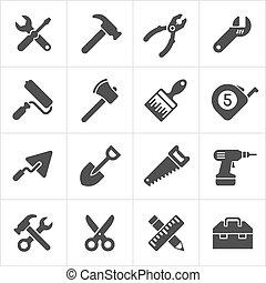 dolgozó, szerszám, és, eszköz, ikonok, white., vektor