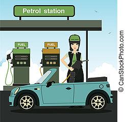 dolgozók, üzemanyag-feltöltés
