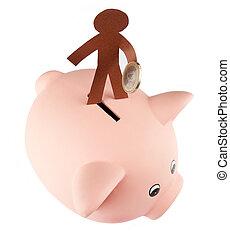 dolgozat, alak, takarékbetét pénz, képben látható, egy, falánk part