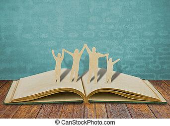 dolgozat, elvág, család, jelkép, képben látható, öreg, könyv