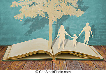 dolgozat, elvág, közül, család, jelkép, alatt, fa, képben látható, öreg, könyv