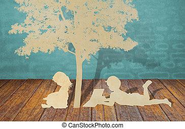 dolgozat, elvág, közül, gyerekek, olvas, egy, könyv, alatt, fa