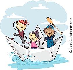 dolgozat, gyerekek, bot, csónakázik