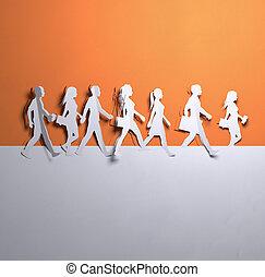 dolgozat, művészet, -, csoport, közül, gyalogló, emberek