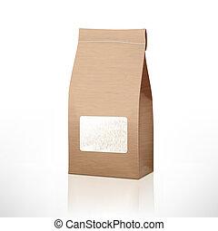 dolgozat, rizs, táska, hajó, áttetsző, barna, ablak, csomagolás