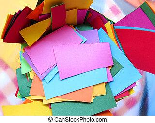 dolgozat, színezett, darabok