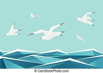 dolgozat, tenger, noha, birds., vektor, origami, becsap, felül, lenget, háttér