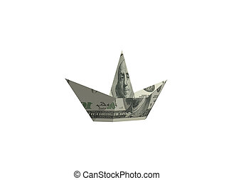 dollár, -, amerikai, ráncos, vakolás, alakít, csónakázik, 3