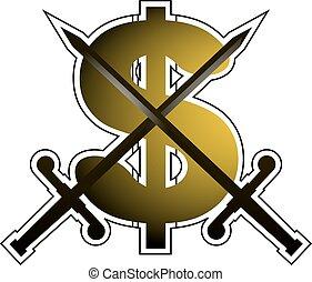 dollár, kard