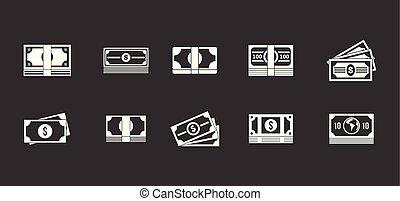 dollár, vektor, állhatatos, szürke, ikon