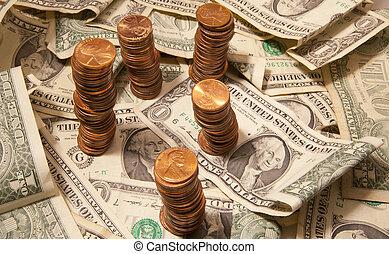 dollárok, és, centek
