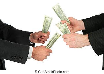 dollárok, businessmen, kézbesít
