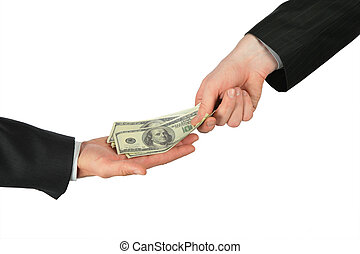 dollárok, egy, másik, elhelyez, kéz