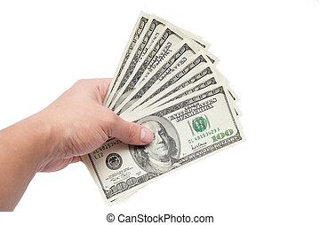 dollárok, fehér, elszigetelt, háttér, kéz