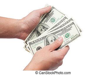 dollárok, fehér, elszigetelt, háttér, kézbesít