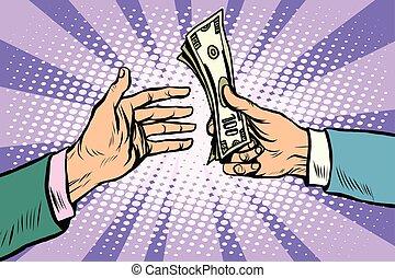 dollárok, megvesz, kiárusítás, készpénz