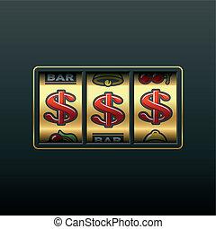dollárok, -, nyerő, alatt, horony gép