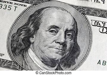 dollárok, száz, egy