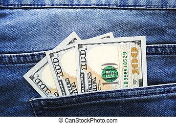 dollárok, usa, closeup., zseb, farmernadrág